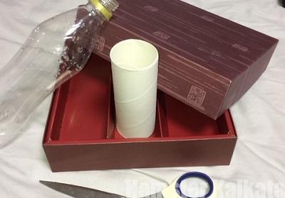 お菓子の空箱とトイレットペーパーの芯とペットボトル